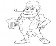 Print leprechaun with beer saint patricks day coloring pages