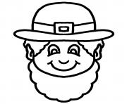 Print this black and white cartoon leprechaun face clipart illustration coloring pages