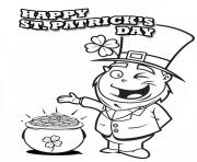 A Happy Leprechaun Found Pot of Gold on St Patricks Day coloring pages