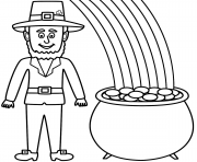 Print Leprechaun With A Pot Of Gold And Rainbow coloring pages