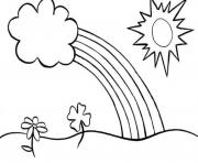 Rainbow Coloring Pages For Kids flowers sun
