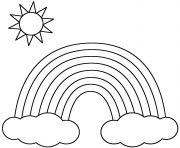 Print Rainbow With Clouds And Sun coloring pages
