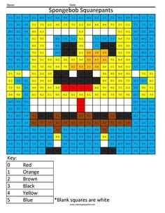 print spongebob squarepants cartoon math worksheet division pixel art coloring pages