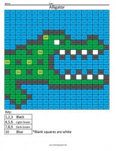 Printable alligator math Addition and Subtraction Shop pixel art coloring pages
