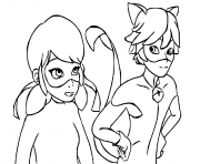 Print Ladybug and Cat Noir are talking coloring pages