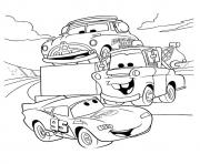 Print Cars Lightning McQueen talking with friends a4 disney coloring pages