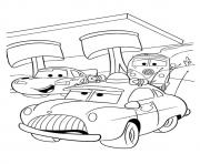 Print Cars Lightning McQueen with friends a4 disney coloring pages