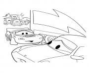 Print Cars Lightning McQueenwith other car a4 disney coloring pages