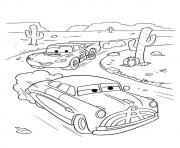 Printable Cars Lightning McQueen backside cactus a4 disney coloring pages