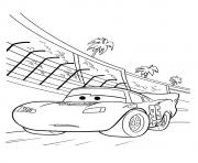 Cars Lightning McQueen backside coconut tree a4 disney coloring pages