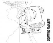 Print Cars Lightning McQueen in city a4 disney coloring pages