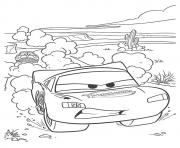 Printable Cars Lightning McQueen in desert a4 disney coloring pages