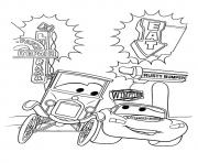 Cars The McQueen With Lizzie a4 disney coloring pages