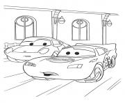 Printable Cars The McQueen With Sally a4 disney coloring pages