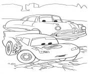 Print Cars The Lightning McQueen With Doc Hudson a4 disney coloring pages