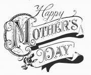 Happy Mother Day adult old school coloring pages