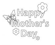 Printable Happy Mothers Day message flower coloring pages