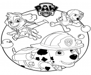 skye marshall and rocky paw patrol coloring pages
