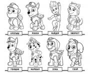 Printable Free Chase Paw Patrol list coloring pages