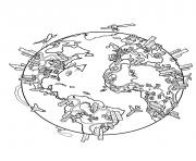 Printable world map earth coloring pages