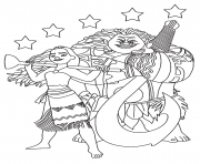 Printable Moana Maui with the stars coloring pages