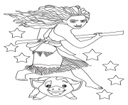 Printable Moana and pig ready coloring pages