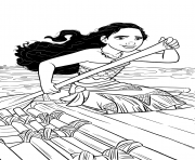 Printable Moana on a little ship coloring pages