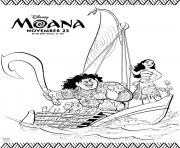 Printable Disneys moana ship with maui coloring pages