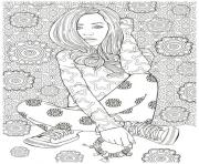 Printable woman hard adult detailed model illustration coloring pages