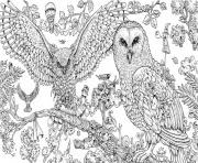 Print Animorphia Owls hard adult animal coloring pages