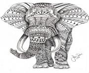 Printable elephant for adults color hard difficult coloring pages