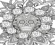 Print adult halloween hard sugar skull flowers coloring pages