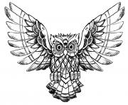 Printable advanced owl raw drawing coloring pages
