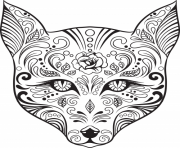 Printable advanced cat sugar skull coloring pages coloring pages