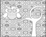 Printable simple and hard owl for adults coloring pages