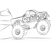 Printable grinder monster truck coloring page coloring pages