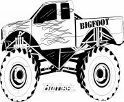 Print monster truck bigfoot big foot kids coloring pages