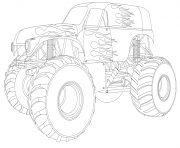 Printable monster truck nice fire flames cool coloring pages