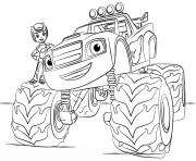 Print blaze monster truck for kids coloring pages