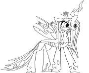 My little pony coloring pages color online free printable for Queen chrysalis coloring pages