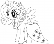Printable cute fluttershy my little pony coloring pages