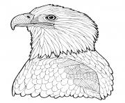 Print Bald Eagle Zentangle page adult hard advanced coloring pages