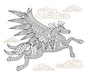 Printable pegasus winged horse hard advanced adult animal coloring pages