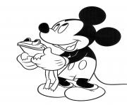 Printable Mickey Mouse and frog disney coloring pages