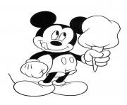 Printable Mickey with huge ice cream disney coloring pages