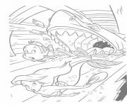 Print shark attacks ariel and brimsby disney princess coloring pages