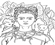 self portrait with necklace of thorns by frida kahlo coloring pages