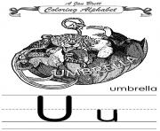 coloring alphabet traditional umbrella coloring pages