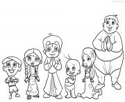 Printable Chota Bheem team coloring pages