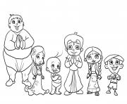 Print chota bheem characters coloring pages